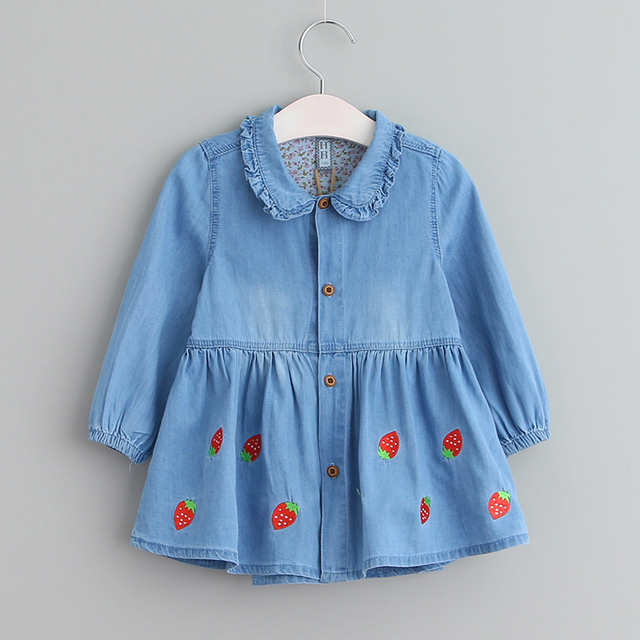 Sodawn 2017 New Spring Fall Denim Girls Dresses Strawberry Embroidery Baby Girl Clothes Kids Clothes Princess Party Dress 3-7Y