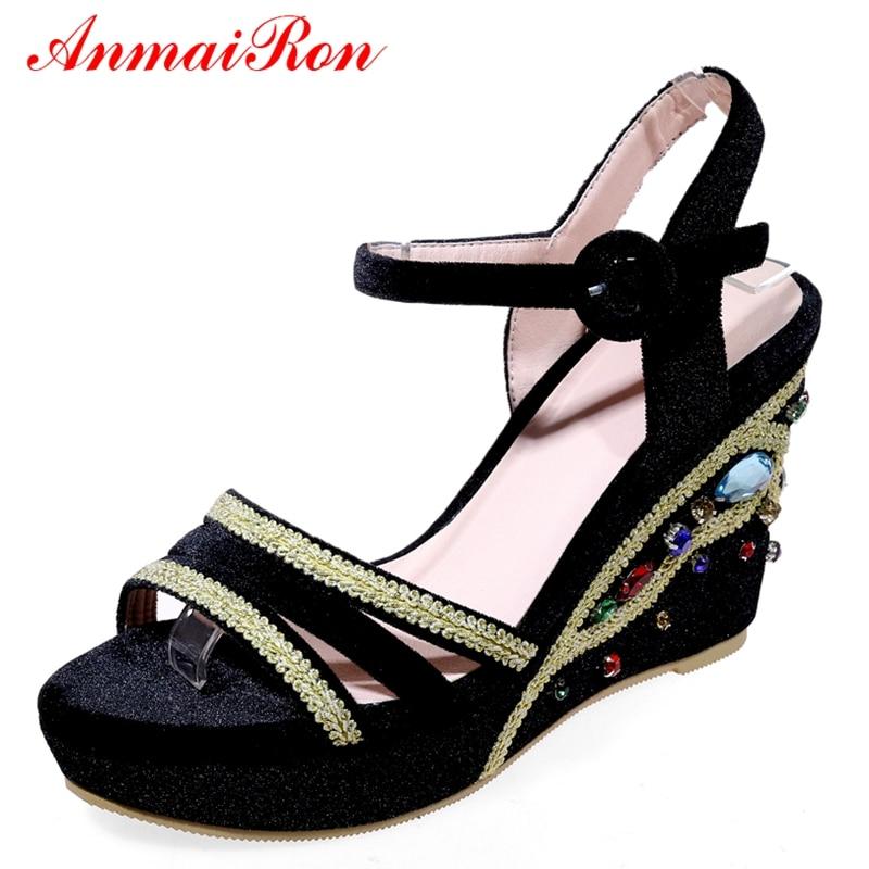 39 red Tacones Básica Plataforma Hebilla Correa 34 Sandalias Mujer Zapatos De Anmairon Moda Ly645 2018 Black Rebaño Tamaño Verano wxUZqAA1g