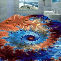 Free Shipping Custom Beautiful Abstract Pattern 3D Stereo Flooring Mural Self Adhesive Bedroom Bathroom Hotel Floor