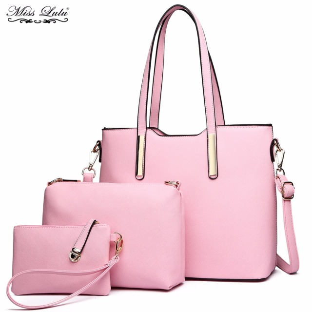 02a4a61e250 MISS LULU 3 Pieces Women Designer PU Leather Handbags Ladies Fashion  Shoulder Bag Girls Cross Body Messenger Bags Satchel YD6648