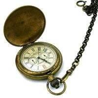 BRONZE CARVED ARCHAIZE 24H W 5 HANDS POCKET WATCH