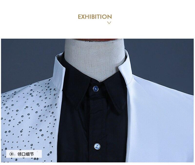 2 pièces blanc un bouton or broderie diamant costume hommes marque col montant Slim Fit mariage marié hommes costumes avec pantalon Terno - 3
