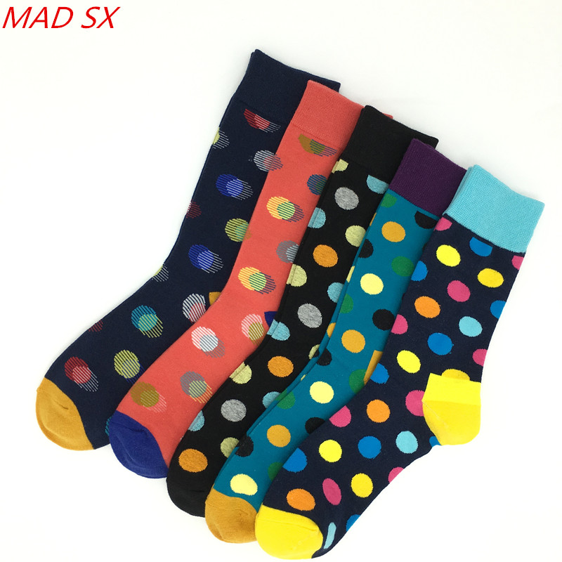 Diplomatic 5 Pairs/lot Fashion Men Colorful Cotton Socks Color Dot Pattern Unisex Casual Crew Socks New Style Happy Socks For Men/women Nourishing The Kidneys Relieving Rheumatism Men's Socks
