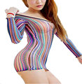 Sexy Women's Ladies Stripe Mesh Body Dress  Multicoloured Tight Short Dress Sheathy Dresses