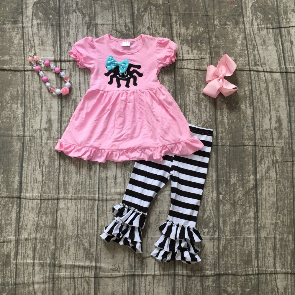 2018 new arrivals Fall Halloween baby girls clothing pink spider print cotton boutique clothing pant children match accessories special offer clothing baby girls halloween outfits boutique children small boves are so scary pant cotton sets match accessory