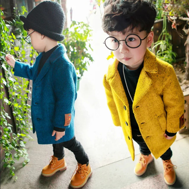 2016 New Winter Toddler Boys woolen coat Girls Long Coats Single Breasted 1-6Y Children's Solid Warm Jackets Kids Clothes SC686
