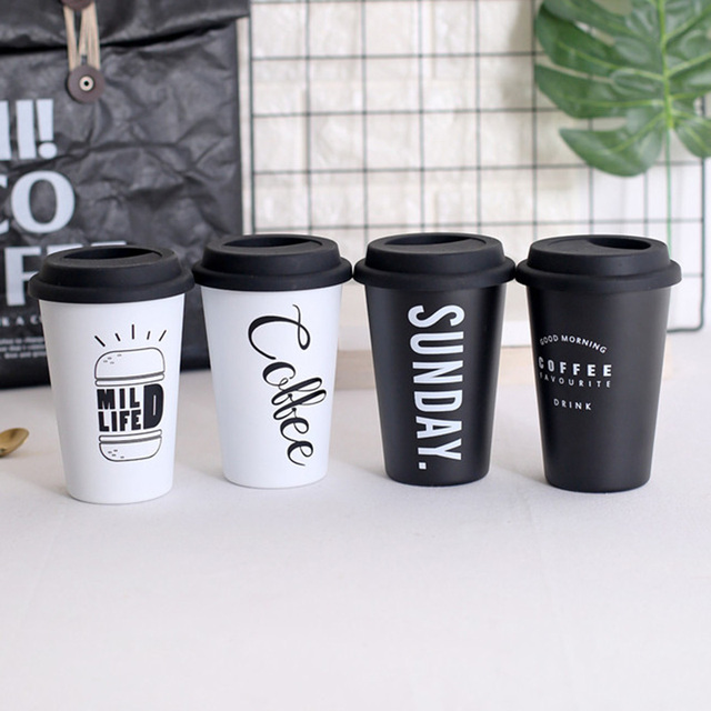 aa83280c86a 2018 New 420mL Travel Coffee Mug Creative with Lid Stainless Steel High  quality Cups and Mugs Tea Milk Drinkware Free Straw Gift