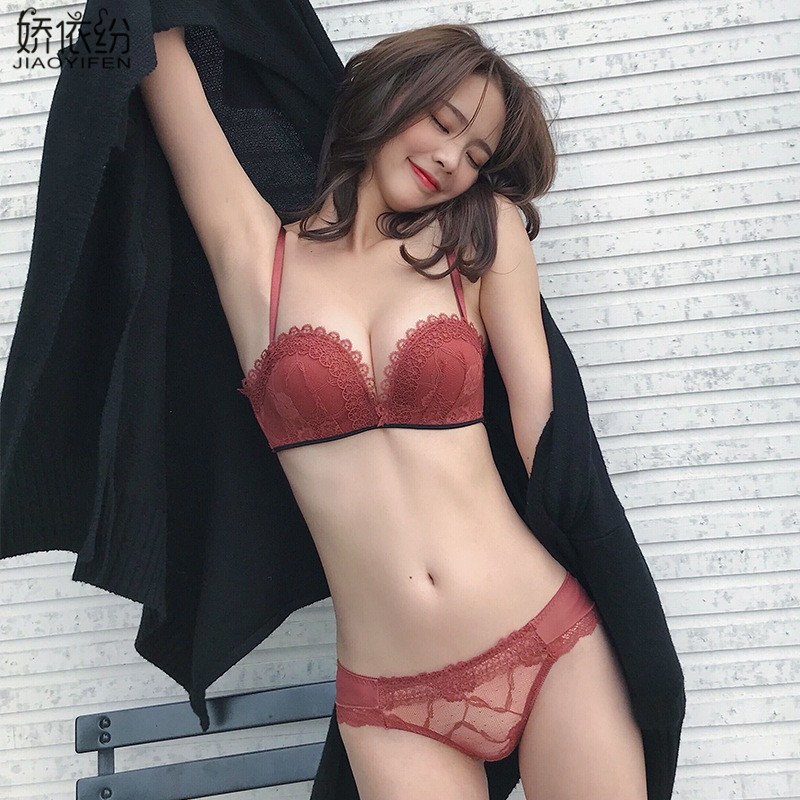 JYF Women Underwear Sexy Comfortable Seamless 1/2 Cup Bra Set For Small Chest Cute Girl Fashion Lingerie High Quality Brassiere