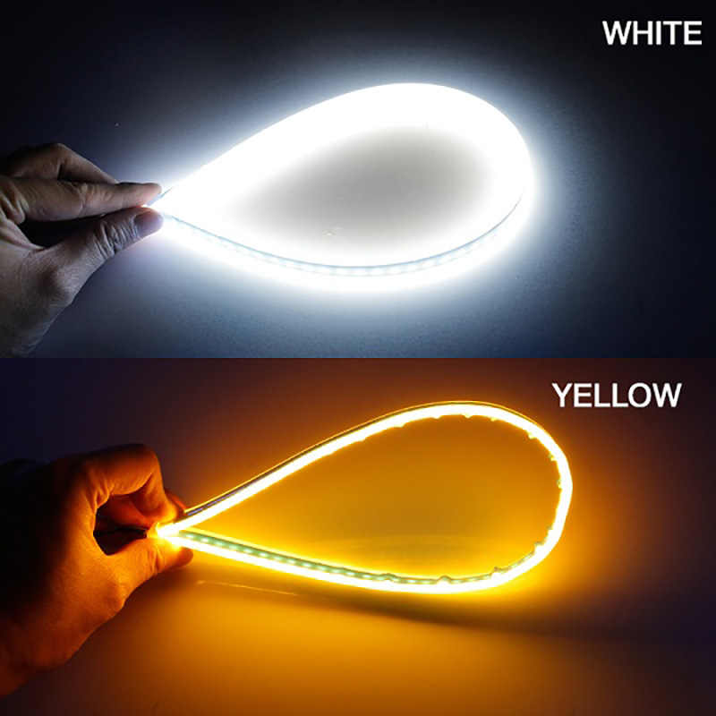 Car 12V Flexible Daytime Running Lamp LED Turn Signal DRL LED Lights Yellow Flowing Headlight LED Strip Light Waterproof