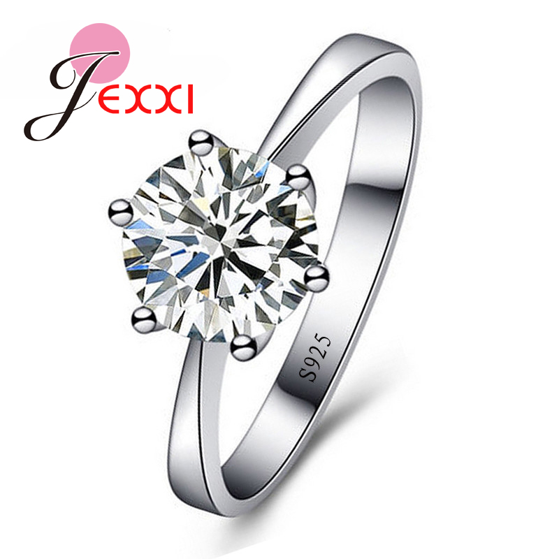 JEXXI Simple Promise Romantic Wedding Rings Jewelry With Round Cubic Zirconia Ring Women ...