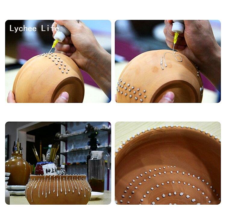 Lychee жизни 2 шт./компл. Пластик Керамика инструменты сжатие грязи бутылка точечный линейный декоративные для поделок, керамические инструменты