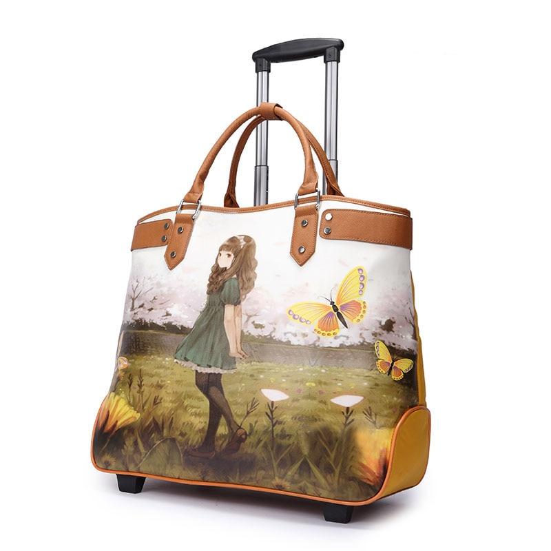 women large capacity canvas travel wheeled bag womens fresh printed trolley travel bag high. Black Bedroom Furniture Sets. Home Design Ideas