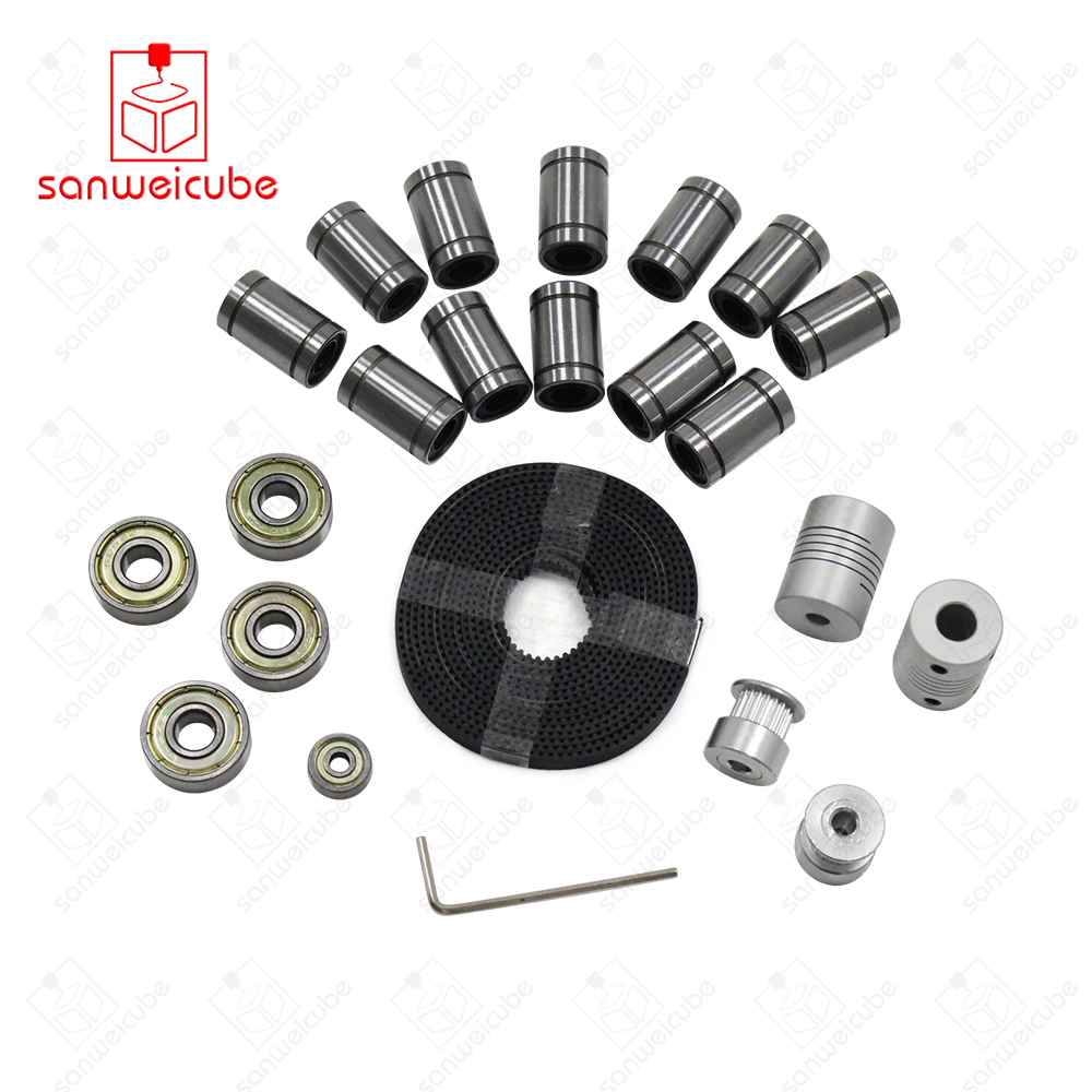 20 tooth coupling kit GT2 Belt Pulley + Bearing LM8UU 624ZZ 608ZZ Bearing for Reprap i3 Movement DIY Printing Kit aluminum 3d printer reprap i3 movement kit gt2 belt pulley 608zz bearing lm8uu 624zz bearing 3d printer