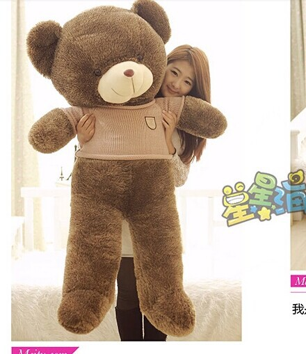 Stuffed animal 140cm khaki cloth brown Teddy bear plush toy soft doll gift w2898 hot 17cm janpanese animal plush toy alpaca vicugna pacos lama arpakasso alpacasso soft stuffed plush doll toy christmas gift