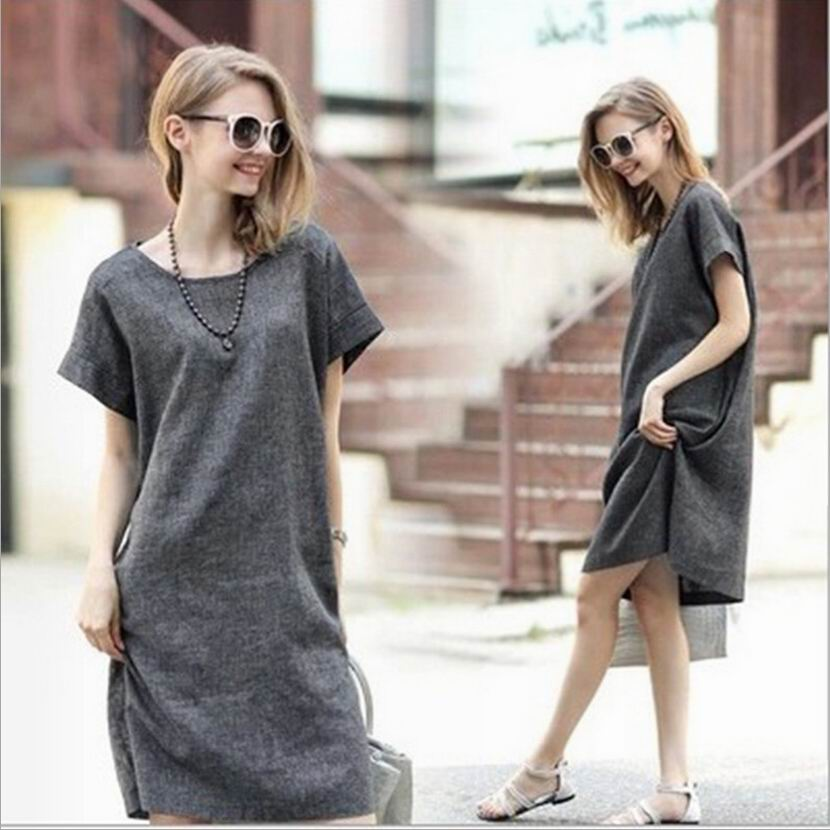 Summer Dress Women Cotton Linen Loose Plus Size Dress Gray Office