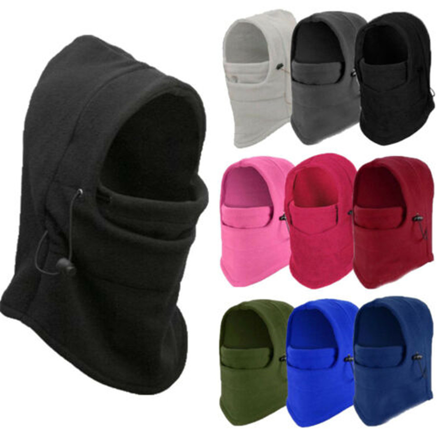Men Women Winter Fleece Hat Thick Hooded Neck Warmer Winter Sports Face Mask For Men Bike Helmet Beanies Masked Cap Outdoor