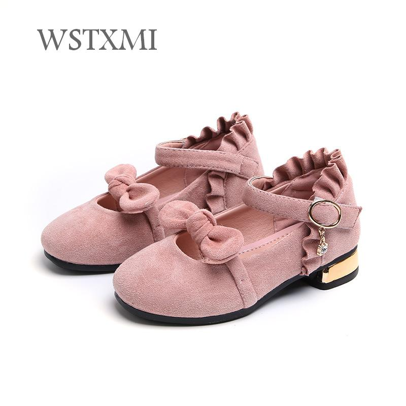 Autumn Kids Shoes for Girls Princess Low-heeled Leather Dress Shoes Fashion Bow Suede Soft Bottom Wear-resistant Children Shoes