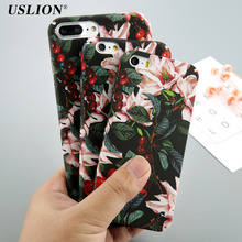USLION Classical Cherry Floral Phone Cases For iPhone 5 5S SE 7 7 6 6s Plus Flower Leaves Case Hard PC Full Back Cover Capa