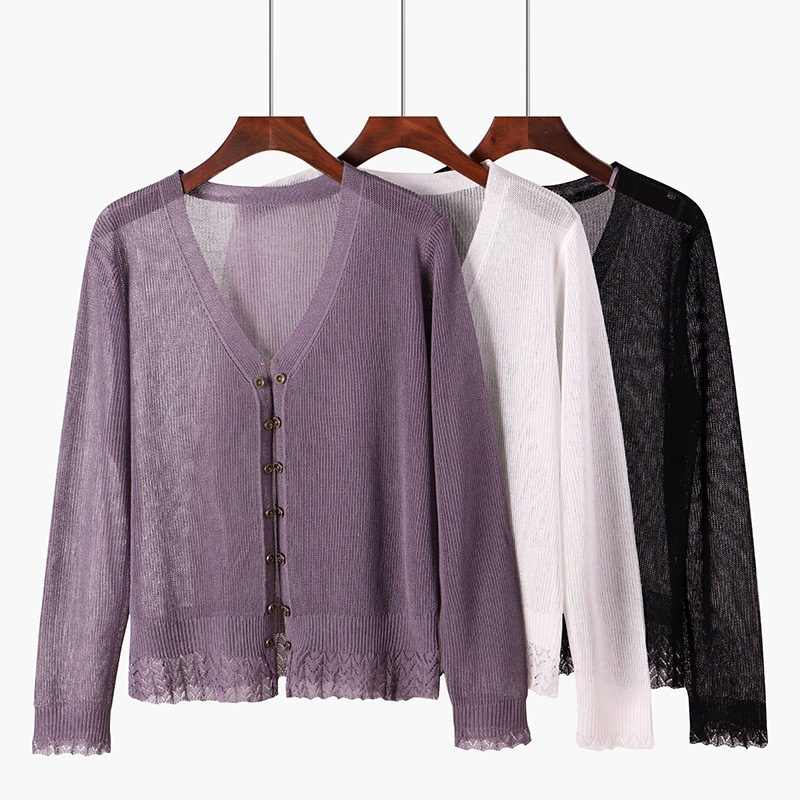 M long-sleeved ice silk knit cardigan womens ultra-thin lace loose thin sunscreen small shawl