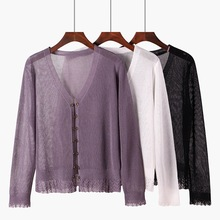 M long-sleeved ice silk knit cardigan womens ultra-thin lace loose thin sunscreen small shawl