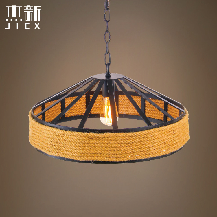 Nordic Pastoral rope pendant lamp retro bar cafe creative straw hat lampshade living room pendant light fumat clear glass pendant light with hemp rope vintage cafe bar suspension light fixture nordic living room dinning room lamp