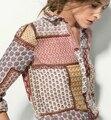 Novo 2016 Moda Massimo Mulheres Manga Comprida Blusa Ocasional Das Senhoras Camisa da Cópia Do Vintage Plus Size Tops Ropa Mujer