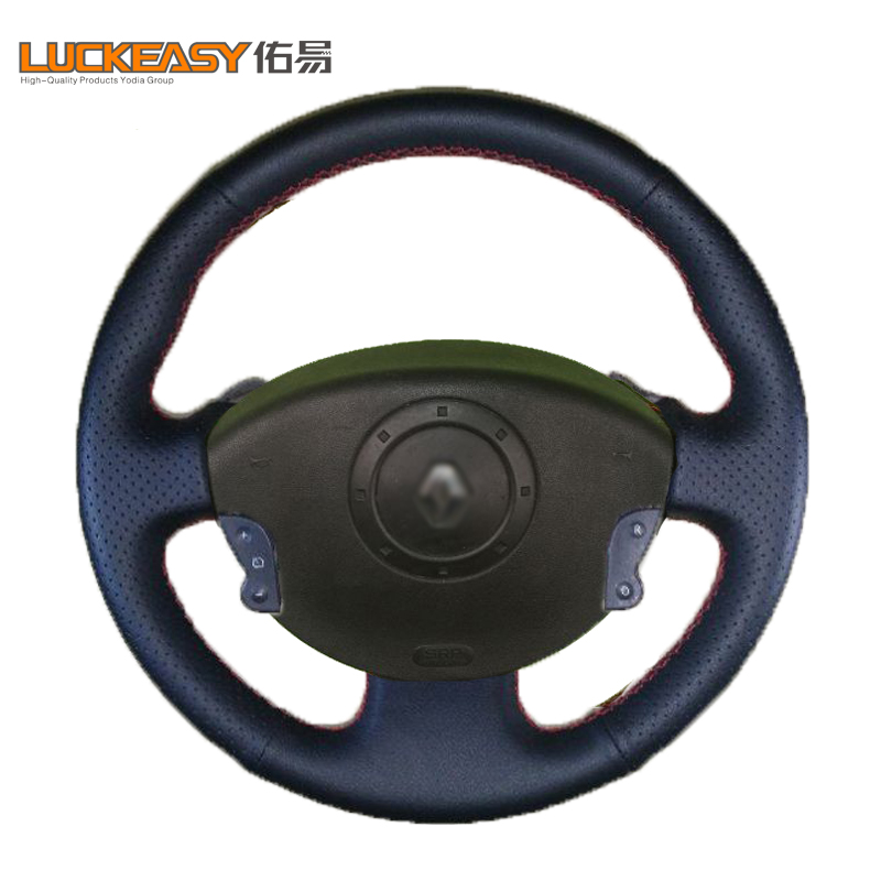 With button Black Leather Hand-stitched Car Steering Wheel Cover for Renault Megane 2 2003-2008 Kangoo Scenic 2 2003-2009