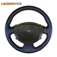 With button Black Leather Hand stitched Car Steering Wheel Cover for Renault Megane 2 2003 2008 Kangoo Scenic 2 2003 2009