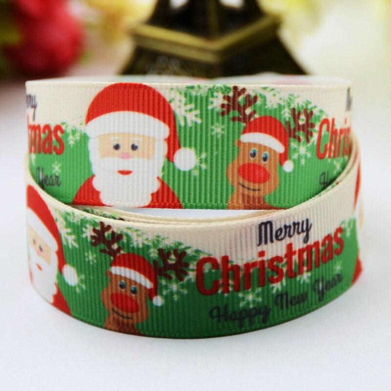 22mm Christmas Cartoon Character Printed Grosgrain Ribbon Party Decoration Satin Ribbons X-00514 Oem 10 Yards Beautiful 7/8