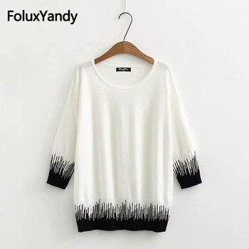 Striped Sweater Three Quarter Sleeve Korean Style Casual O-neck Thin Spring Autumn Sweater Pullover Plus Size KKFY2647 цена 2017