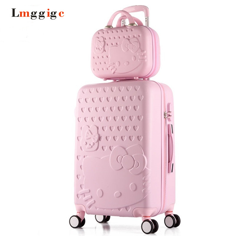 2022242628in Hello Kitty Luggage Set,Children Women's Lightweight Suitcase,Colorful ABS Travel Box,Rolling Trolley Hardcase vintage suitcase 20 26 pu leather travel suitcase scratch resistant rolling luggage bags suitcase with tsa lock