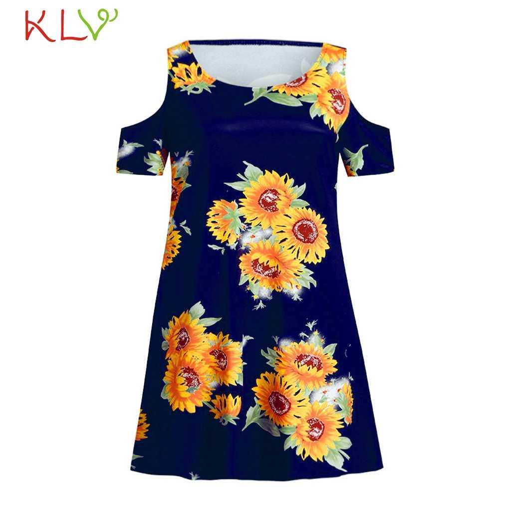 Женское повседневное летнее платье с цветочным принтом и подсолнухом, Сексуальные вечерние платья в стиле бохо, 2019, большие размеры, vestidos robe Femme 19May17