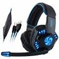 Noswer I8 Led PS4 Auriculares Auriculares con Micrófono para Juegos de Ordenador Auriculares Estéreo PC Portátil Gamer Moblie Móviles