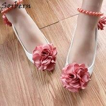 1de947a90 Sorbern الطوب زهور حمراء 3 سنتيمتر كعوب منخفضة أحذية الزفاف الديكور الأشرطة  حذاء زفاف مضخات عالية