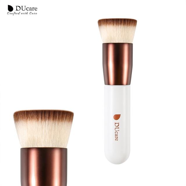 DUcare cepillo de La Fundación plana superior líquido maquillaje cepillo pintada con mango de madera belleza esencial mujeres herramienta cosmética