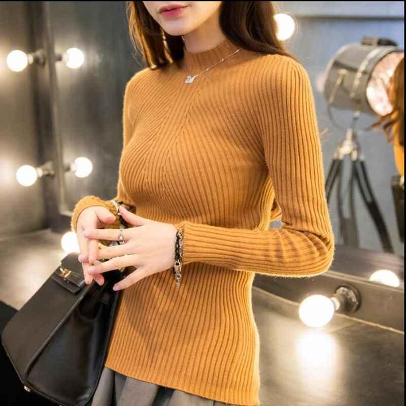 Новые модные женские свитера с высоким воротом 2018 повседневные весенние женские облегающие теплые вязаные пуловеры женские burderry женские