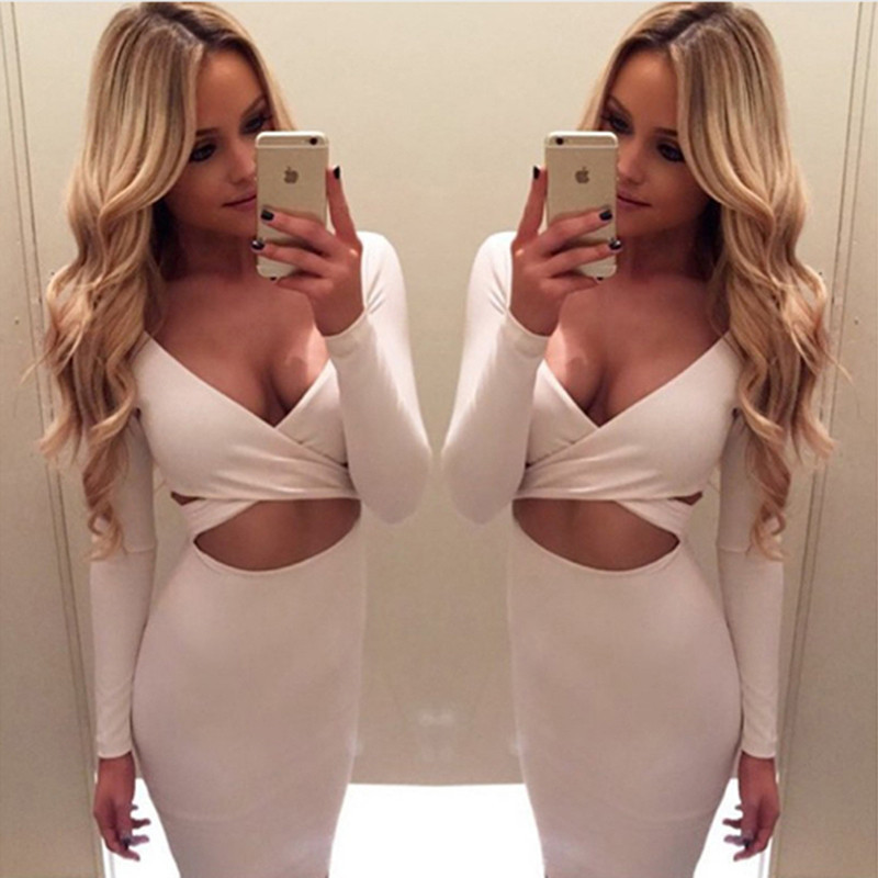 White Long Sleeve Elastic Party Dresses Vestidos Sexy Pencil Dresses Clubwear Bodycon Bandage Dress Deep V-neck Women Dress