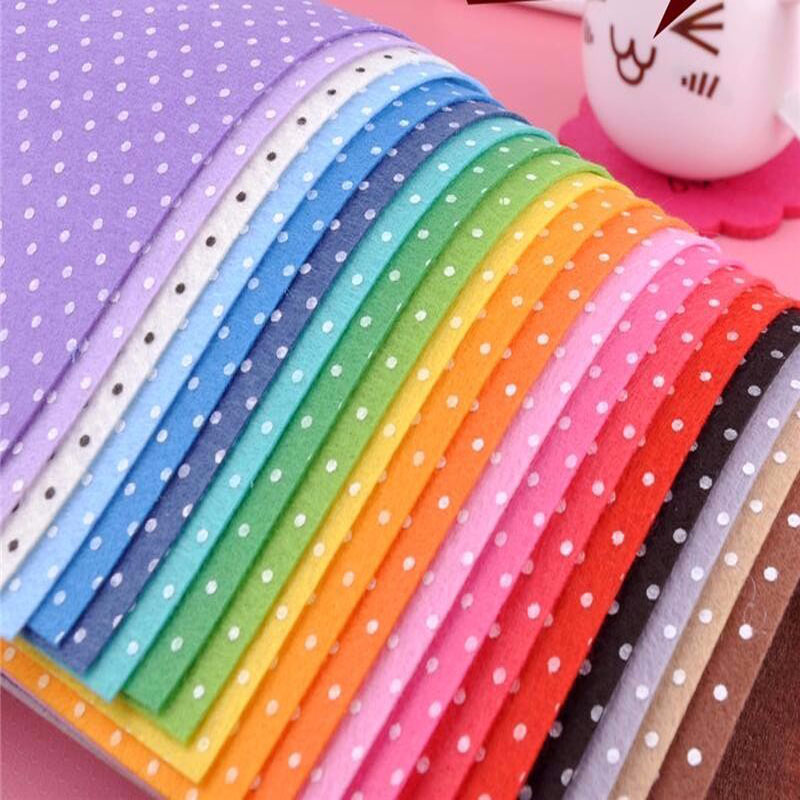 Mixed 20 Colors <font><b>1mm</b></font> Thick 14x14cm 100% Polyester Polka Dot Printed Nonwoven <font><b>Felt</b></font> Fabric Handmade Fabric Nonwoven DIY mate image