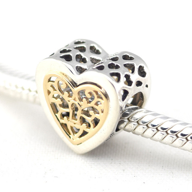 Pandulaso Golden Love Heart Lock Beads Sterling-Silver-Jewelry For Women DIY Bracelets Silver 925 Jewelry Making Valentine's Day