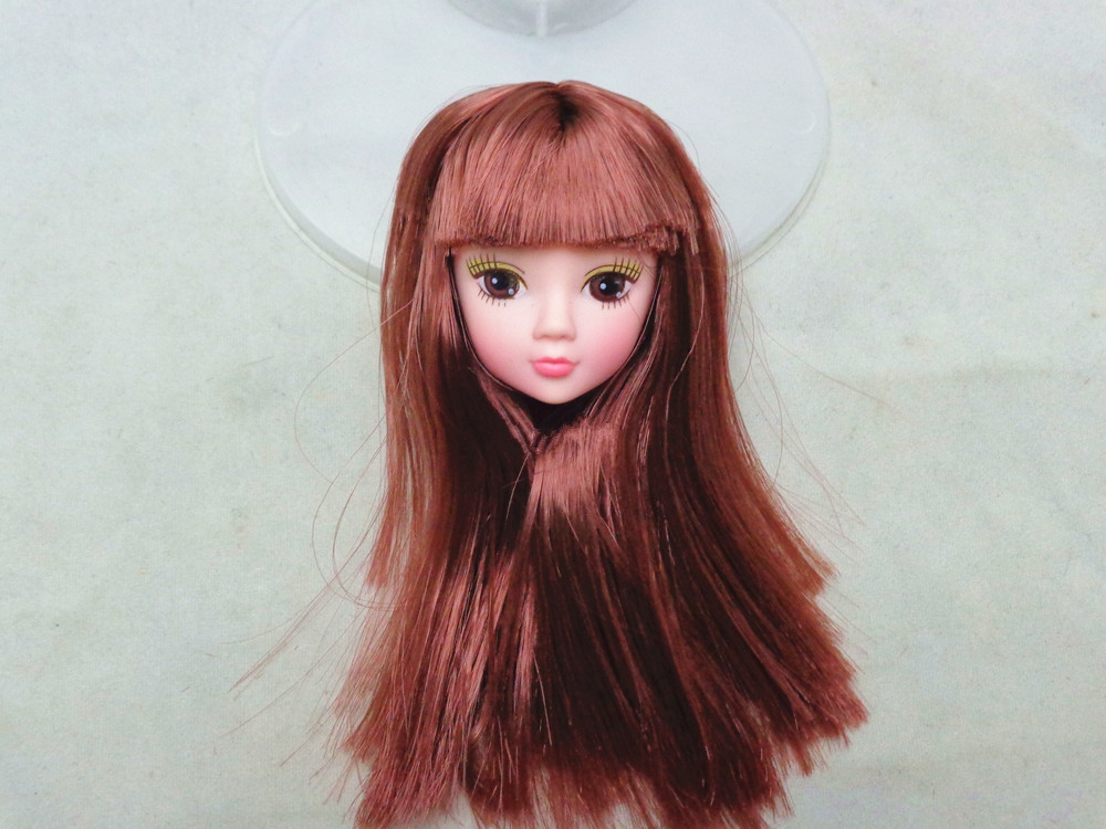 Children Toy Stunning Doll Head with Lengthy Brown Hair DIY Doll Equipment For Barbie Doll For 1/6 BJD Doll Home