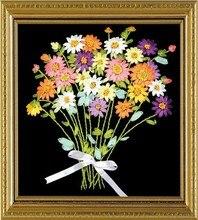 Needlework,DIY Ribbon Cross stitch Set for Embroidery kit, cute bouquet floral flower ribbon Cross-Stitch handwork wedding decor