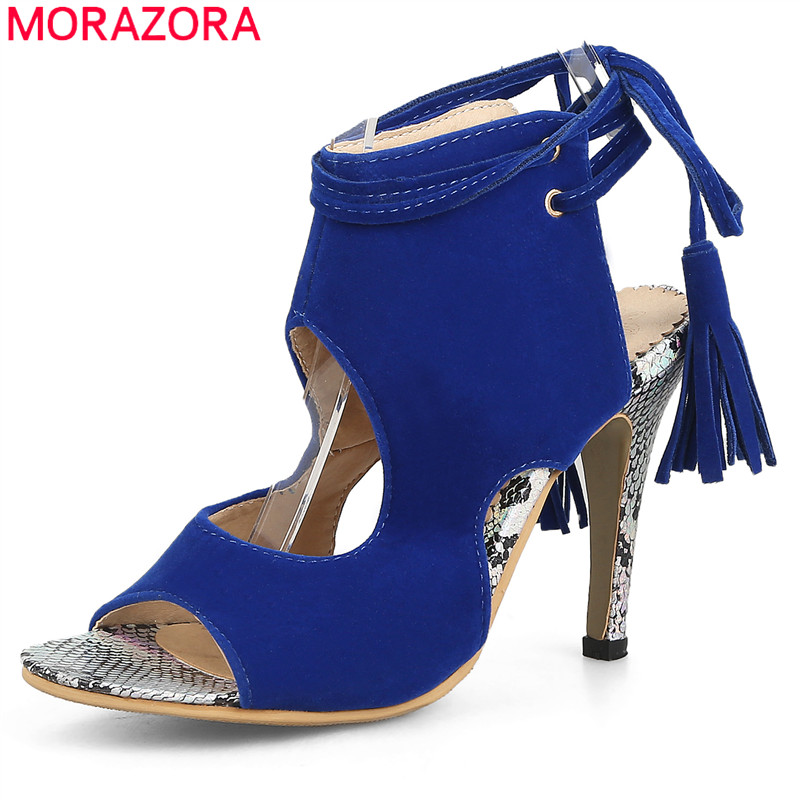 MORAZORA Plus size 34-46 2017 High heels women sandals flock solid color lace up open toe sexy summer ladies party wedding shoes zorssar brand 2017 high quality sexy summer womens sandals peep toe high heels ladies wedding party shoes plus size 34 43