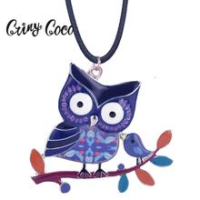 Cring Coco Trendy Owl Choker Necklace Women Long Fashion Bird Chokers Necklaces Collar Jewelry for Girls Party Wedding Trinket