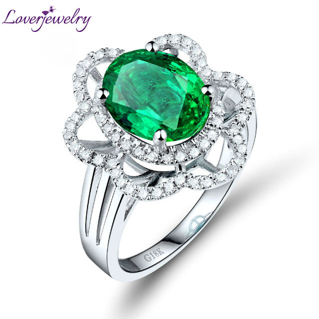 Real 18K White Gold Natural Green Emerald Flower Shape Good