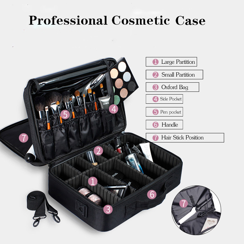 New 2018 High Quality Professional Empty Makeup Organizer Bolso Mujer Cosmetic Case Travel Large Capacity Storage Bag Suitcases