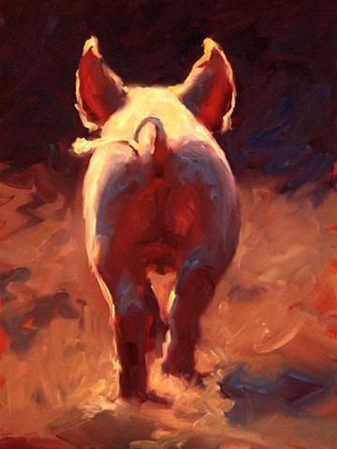 Professional Factory Skilled Painter Handmade High Quality Pig Tail Oil  Painting On Canvas Pigs Ass Painting For Kitchen Decor