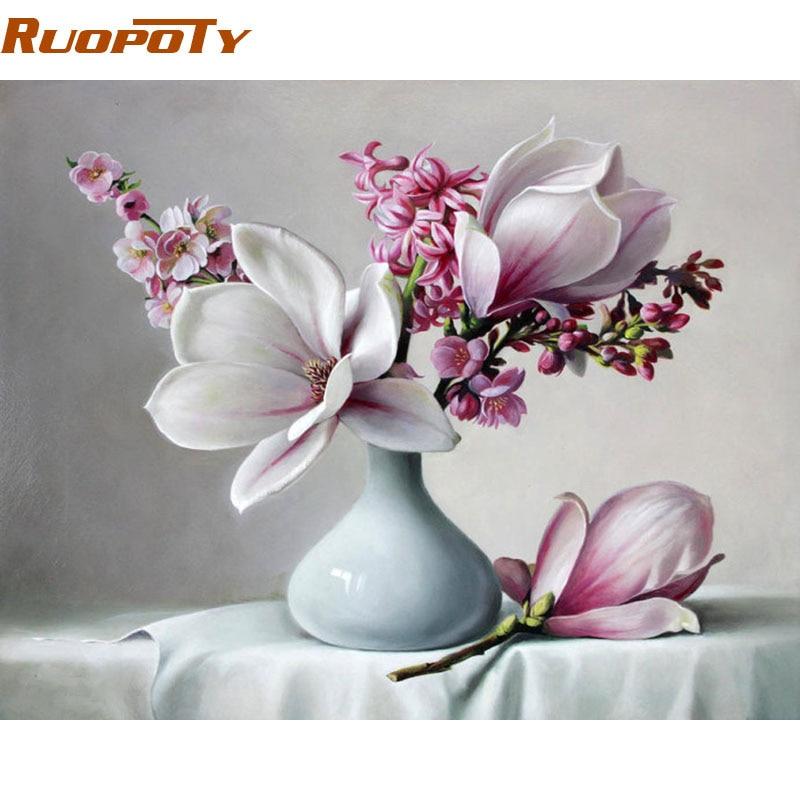 Ruopoty fai da te cornice acrilico vernice magnolia fiore fai da te pittura ing dai numeri moderna immagine wall art regalo unico per la decorazione domestica arte