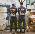 2017 Harajuku 3d Impressão Legal Do Punk Do Vintage Destacável Mens Denim jean Macacão Macacão Estilo Europeu Homens Moda Jeans Preto Homens