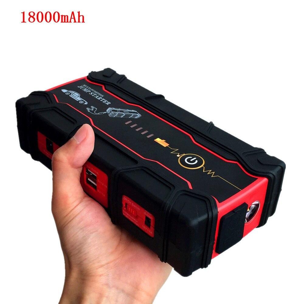 2019 Haute capacit2 de batterie externe Démarreur Voiture De Saut 12 V Portable Multifonctionnel Jumper Démarrer chargeur de voiture Booster 18000 mAh SOS lumière