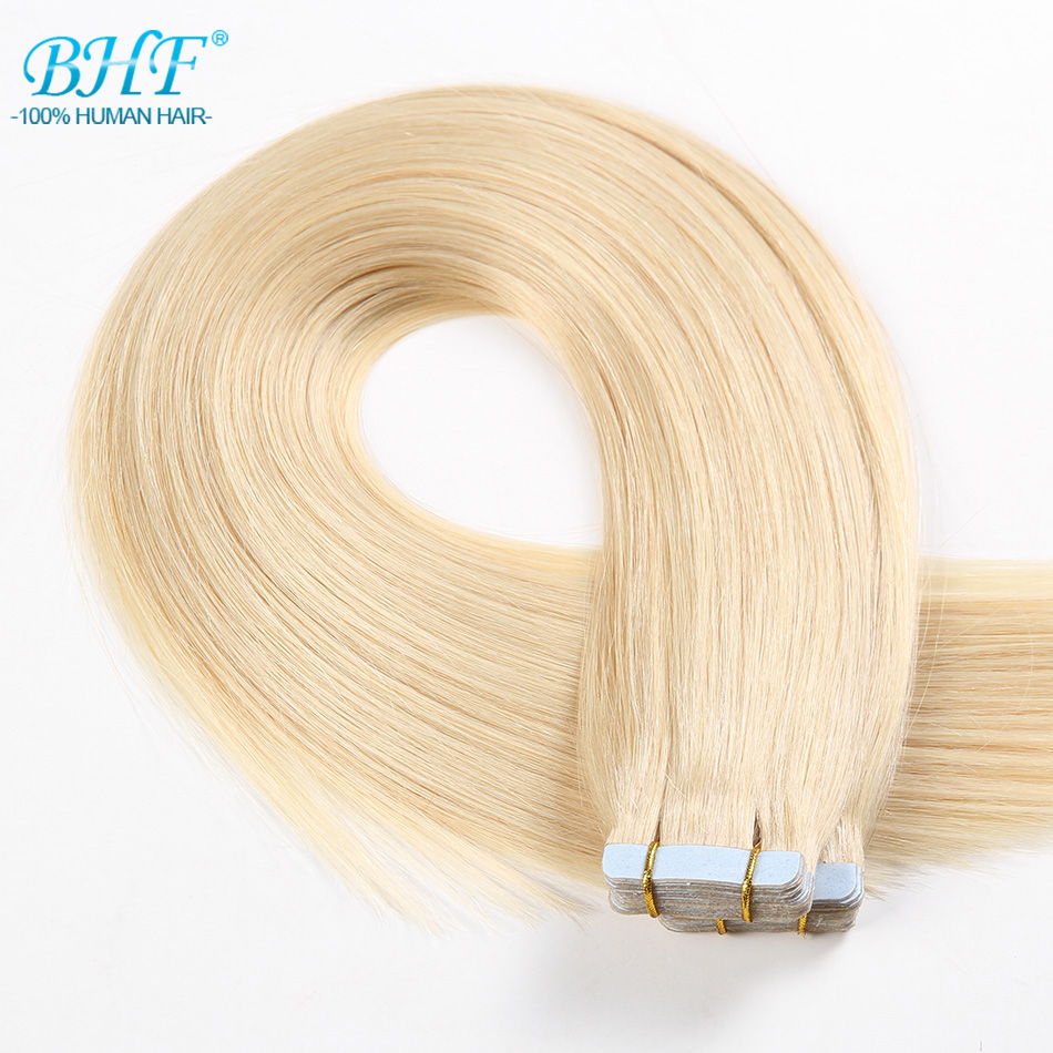 BHF Tape In Human Hair Extensions Straight 613 blonde Tape In Extensions 20pcs Brazilian Remy Tape
